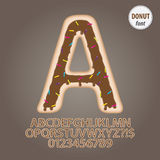 Chocolate Donut Alphabet and Digit Vector Stock Photography