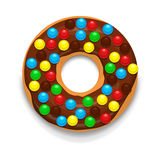 Chocolate donut with candies icon, cartoon style. Chocolate donut with candies icon in cartoon style on a white background Stock Photos