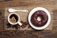 Chocolate donut and coffee Royalty Free Stock Photos