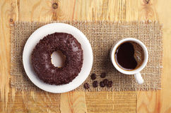 Chocolate donut and coffee Royalty Free Stock Image