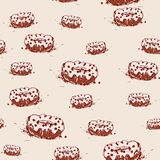 Chocolate donut with cream Hand drawn sketch on pink background. seamless pattern vector Royalty Free Stock Photography