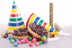 Chocolate donut and decoration Royalty Free Stock Photography