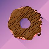 Chocolate donut with glaze, flat design vector image. Sweet pastry: a cute chocolate or coffee donut with chocolate glaze and coffee flavor, over purple vector illustration