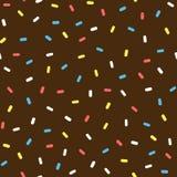 Chocolate donut glaze with sprinkles. Colorful seamless pattern. Stock Photos