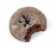 Chocolate donut that has been bitten Royalty Free Stock Photo