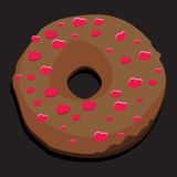 Chocolate donut with heart icing Royalty Free Stock Images