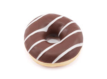 Chocolate donut isolated on white Royalty Free Stock Photography