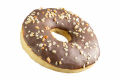 Chocolate donut with nut crumb on a white background. Isolated Donut stock photos