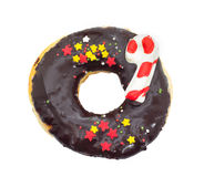 Chocolate donut with red,yellow stars isolated on white backgrou Royalty Free Stock Images