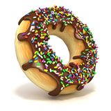 Chocolate donut with sprinkles Royalty Free Stock Photography