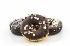 Chocolate donut with Sprinkles. Royalty Free Stock Images