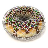 Chocolate donut with sprinkles in wire fence, as symbol of diet Stock Image