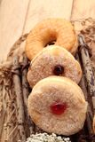 Chocolate donut and strawberry jam donut of delicious Stock Image