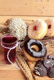 Chocolate donut and strawberry jam donut of delicious Royalty Free Stock Image