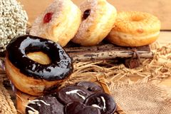 Chocolate donut and strawberry jam donut of delicious Stock Photos