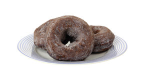 Chocolate Donuts Blue Striped Plate Royalty Free Stock Photo