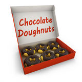 Chocolate donuts in the box Stock Photos