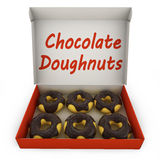 Chocolate donuts in the box Royalty Free Stock Images