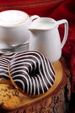 Chocolate donuts and cappuccino Royalty Free Stock Image