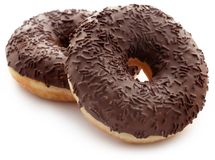 Chocolate donuts. Isolated over white background Stock Image