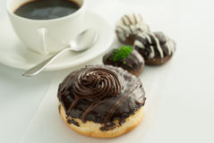 Chocolate donuts with coffee Royalty Free Stock Photo