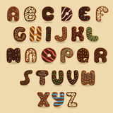 Chocolate Donuts font. Artistic alphabet Royalty Free Stock Image