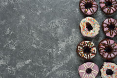Chocolate donuts with icing Stock Photo