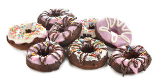 Chocolate donuts with icing Royalty Free Stock Image