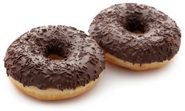 Chocolate donuts. Isolated over white background Stock Images