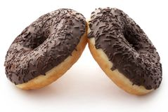 Chocolate donuts. Isolated over white background Royalty Free Stock Photos
