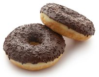 Chocolate donuts. Isolated over white background Stock Photography