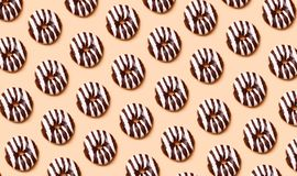 Chocolate donuts pattern stock photography