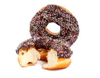 Chocolate Donuts with Sprinkles Stock Photos