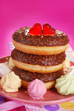 Chocolate donuts for valentine Stock Photo