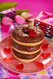 Chocolate donuts for valentine Stock Images