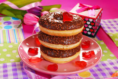 Chocolate donuts for valentine Stock Photos