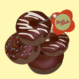 Chocolate Donuts. Vector Homemade Doughnuts Royalty Free Stock Photo