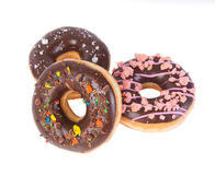 Chocolate donuts on a white background Stock Photo