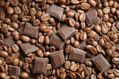 Chocolate dos grãos de café Foto de Stock Royalty Free