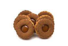 Chocolate double cookie isolated Royalty Free Stock Photo