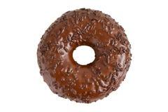 Chocolate doughnut. Delicious chocolate doughnut isolated on white background stock photography