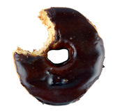 Chocolate doughnut isolated. Chocolate donut with a missing bite. Isolated Stock Image