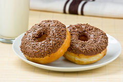 Chocolate Doughnut & Milk. Stock Images