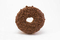 Chocolate doughnut over white Royalty Free Stock Photography