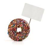 Chocolate doughnut with price tag Royalty Free Stock Photos