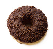 Chocolate doughnut with sprinkle on white Royalty Free Stock Photos