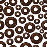 Chocolate doughnuts retro cartoon seamless pattern Stock Images