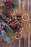 Chocolate with dried orange and cinnamon Royalty Free Stock Images