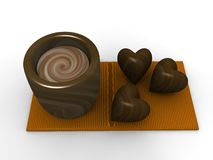 Chocolate drink and heart candies Stock Photo