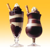 Chocolate drinks. Isolated on color tone background